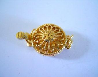 22KT Gold Vermeil Filigree Clasp 3 Strand