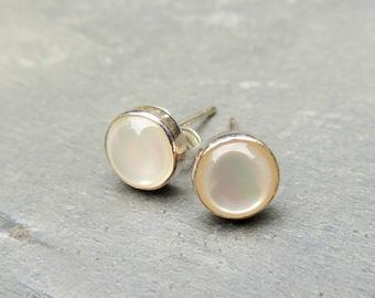 Sterling Silver Pearl Stud Earrings - Pearl Earrings Pearl Jewelry