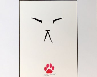 Zen Cat - Original Minimalist Cat Drawing by CatmanDrew Drew Strouble