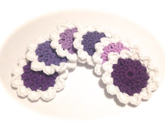 Purple And White Crocheted Face Scrubbies-Miniature Set Of Six