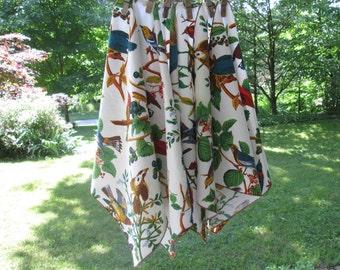 Six Vintage Cotton Napkins - Colorful Bird Napkins - Birds and Flowers
