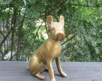 Vintage Brass Dog - Brass Dog Figurine - Brass Boxer Collectible