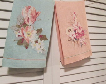 Two Vintage Linen Fingertip Towels - Floral Appliqued Peach and Aqua