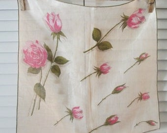 Vintage Linen Hanky/ Handkerchief - Pink and Olive Roses