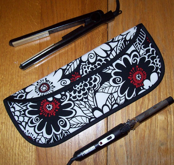 Curling Iron Case / Flat Iron Cover for Travel or the Gym (Insulated) - Michael Miller - Zesty Zinnia