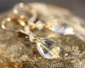 14K solid gold jewelry Golden Rutilated Quartz earrings - fine jewelry gold bridal earrings wedding jewelry rutile drop rusteam - Venus Hair