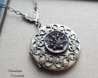 Winifred, Vintage Locket with 1800's Button