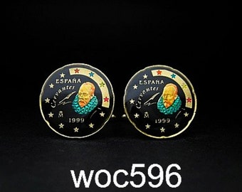 Spain enameled coin cufflinks Euro 10 cents 20mm