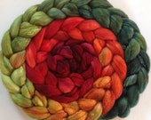 Hand dyed polwarth silk roving 5ozs Pohutakawa pre- order