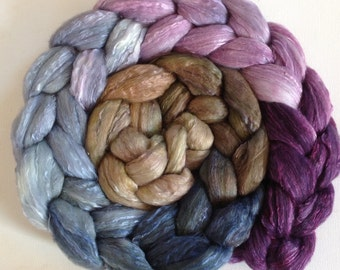 Roving for spinning or felting 3.5ozs  19 micron merino mulberry silk 70/30 ready to ship