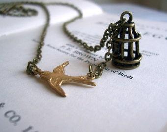Birdcage Charm necklace - in golden brass - freedom - handmade