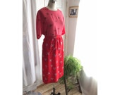 Vintage 100% Silk Origami Print Red Skirt Size 10