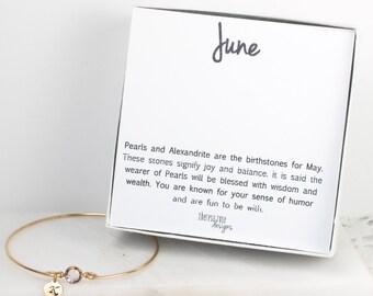 Personalized June Birthstone Gold Bangle Bracelet, Personalized Light Amethyst Gold Bracelet, June Birthstone Bracelet