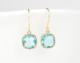 Aquamarine Gold Earrings, Gold Square Earrings, March Birthstone Gold Earrings, March Birthday Gift, Bridesmaid Earrings
