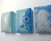 Ceramic wall pillow in Aqua & Sky blue, Leaves w. Polka dots,  Victorian modern wall art