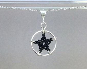 Stars, black silk necklace, sterling silver