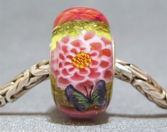 Green & Pink Handmade SRA Lampwork Glass Butterfly Big Hole Bead Pink Flower Garden IIII