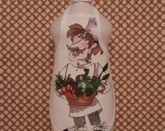 Chef Vegetables  Dish Soap Bottle Apron - fits 25 oz.