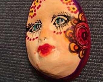 clay face jewelry craft supplies  handmade cabochon   flower polymer clay  findings    girl  freckles