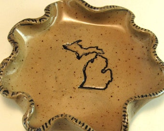 Pottery Spoon Rest/Change Holder/Candle Holder/Love Michigan Spoon Rest/Love Michigan