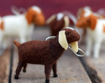 Goat in Chocolate Brown - Needle Felted Christmas Ornament