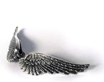 Wing Ear Climbers Ear Crawlers winged Jewelry Silver angel wings Clip On Earrings Soldered High Quality Gothic gift for women