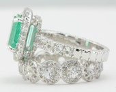 Custom Order for dcmdiana - Emerald Center Stone & White Sapphire Accent Stones Wedding Set in 14k White Gold - Final Payment