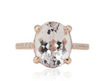 Morganite Engagement Ring - 9x11mm Oval cut Morganite Solitaire with Diamond Side Halo in 14k Rose Gold - LS4784