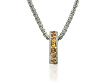 Laurie Sarah Designs November Birthstone Pendant - Genuine Citrine Mother's Pendant in 14k White Gold - LS3055