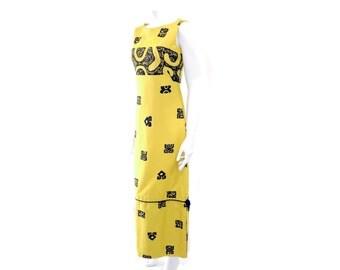 Vintage Hawaiian Dress by Pacific// Sleeveless Yellow Maxi Dress// Cotton Yellow Tank Dress// Size XS // 128