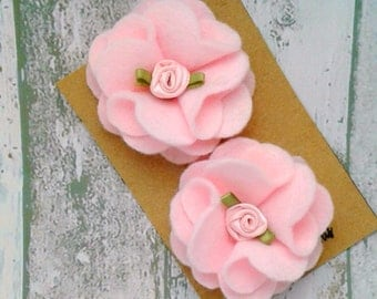 1 Pair of Pastel pink Flower Hair clips, Pastel pink flower Barrette