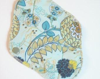Reusable Mama Cloth Pad ..  Teal Modern Floral printed Mamacloth 8 inch FREE Shipping