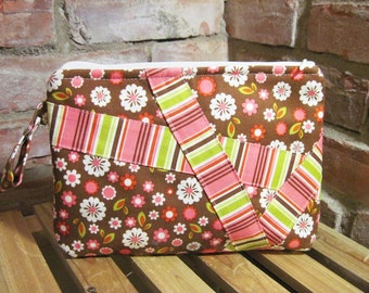 Brown Flower Printed Cotton Make-up Bag / Toiletry Bag / Wet Bag with Snap Handle - FREE SHIPPING