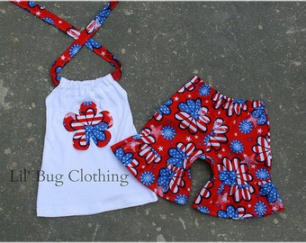 4th Of July Girl Outfit, Pageant Wear 4th Of July Flag  Outfit, Birthday Party 4th Of July Outfit, 4th Of July Short & Halter Top