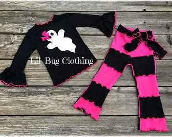 Halloween Ghost Tee & Pant Outfit, Halloween Girl Hot Pink Black Outfit, Girls Ghost Costume Outfit