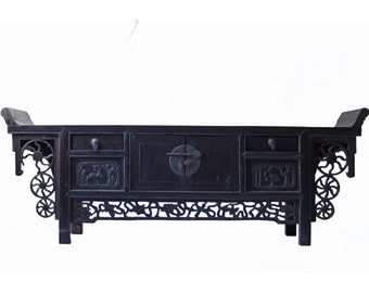 Antique Chinese Asian cabinet display table or altar table made of Elmwood