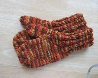 Child Medium Mittens Wool Hand Knit Autumn Leaves