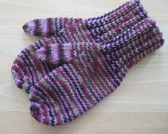 MITTENS HAND KNIT Adult Wool Rosewood