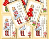 Library Cards INSTANT DOWNLOAD, Real Girls Wear Wellies, Garden Junk Journal, tags, cards, stickers, Labels, DIGITAL download