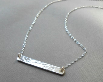 Hammered Silver Bar Necklace, Sterling Silver Vertical Bar Pendant, Simple Silver Necklace