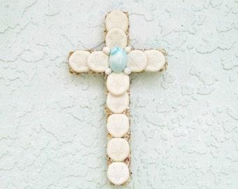 Shell Cross, Sea Biscuits White Seashells with Aqua Crucifix ,Religious Gift, Christian Wall Hanging,Cross with Shells,Seashell Cross