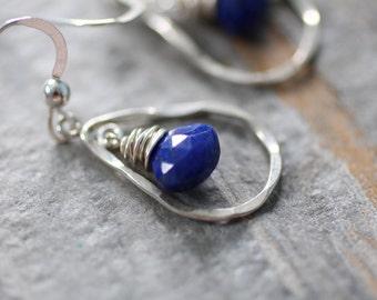 Midnight Blue Genuine Lapis Lazuli Sterling Silver Teardrop Earrings. Hammered Tear Drop Wire Wrapped Earrings. Short Drops