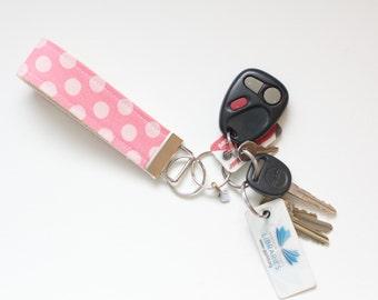 Fabric Keychain Fob Pink Polka Dots