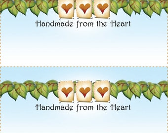 Quilt Labels (4) - Ivy and Hearts.