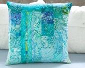 Quilted Modern Patchwork Pillow 15x15 Decorative Pillow Turquoise Quilted Fiber Art Pillow Toss Pillow Ocean Beach Theme Decor Hostess Gift