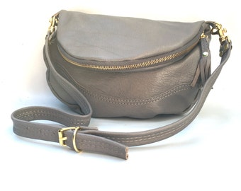 Alberta leather bag in grey
