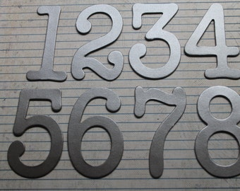 Numbers 1-12  3 inch tall platinum SILVER grey paper over chipboard diecuts great for wedding table numbers