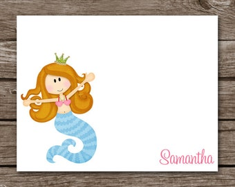 Mermaid Note Cards, Mermaid Cards, Mermaid Notecards, Mermaid Stationery, Mermaid Thank You, Personalized Cards