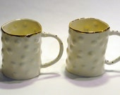 Bumpy textured Large Mugs with Gold Accents