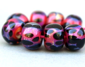 Borosilicate Beads, Pink and Black Lampwork Beads